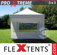 Gazebo pieghevole  Xtreme 3x3m Bianco, inclusi 4 fianchi