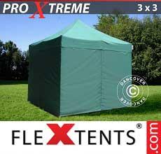 Gazebo pieghevole  Xtreme 3x3m Verde, inclusi 4 fianchi