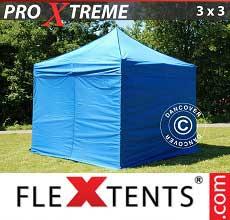 Gazebo pieghevole  Xtreme 3x3m Blu, incl 4 fianchi