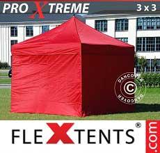Gazebo pieghevole  Xtreme 3x3m Rosso, inclusi 4 fianchi