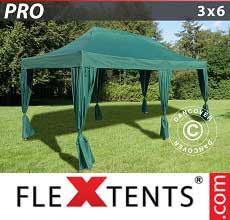 Gazebo pieghevole  PRO 3x6m Verde, incl. 6 tendaggi decorativi