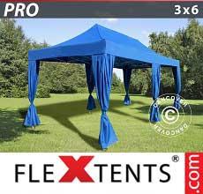 Gazebo pieghevole  PRO 3x6m Blu, incl. 6 tendaggi decorativi