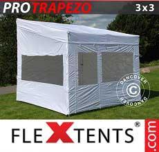 Gazebo pieghevole  PRO Trapezo 3x3m, inclusi 4 fianchi