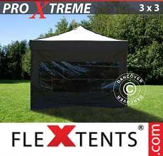 Gazebo pieghevole  Xtreme 3x3m Nero, inclusi 4 fianchi