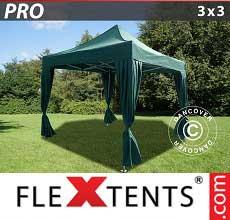 Gazebo pieghevole  PRO 3x3m Verde, incl. 4 tendaggi decorativi