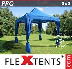 Gazebo pieghevole  PRO 3x3m Blu, incl. 4 tendaggi decorativi