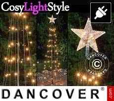 Albero di luci LED con stella, 1,8m, multifunzione, luce bianca calda