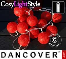Catena di Luci con Sfere di Cotone, Leo, 30 lampadine a LED, Rosso