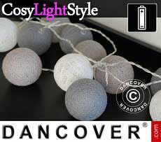 Catena di Luci con Sfere di Cotone, Gemini, 30 lampadine a LED, Misto grigio