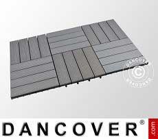Piastrelle in WPC per pavimenti esterni, 0,3x0,3m, Grigio scuro…