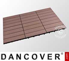 Piastrelle in WPC per pavimenti esterni, 0,3x0,3m, Marrone (6pz/confezione)