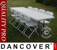 Pacchetto Party, 1 tavolo pieghevole (242cm) + 8 sedie & Cuscino per sedia, 8…