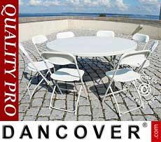 Tavolo tondo pieghevole Ø 152cm + 8 sedie, Grigio chiaro/Bianco