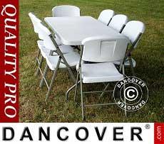Pacchetto, Party 1 tavolo pieghevole (182 cm) + 8 sedie, Grigio chiaro/Bianco