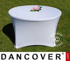 Copri-tavolo elasticizzato, Ø116x74cm, Bianco