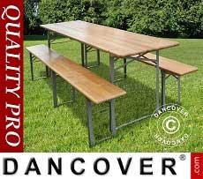 Set Tavolo e panca, Legno chiaro, gambe in acciaio pieghevoli, 180cm