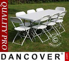 Pacchetto party, 1 tavolo pieghevole (182cm) + 8 sedie, Grigio chiaro/Bianco
