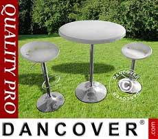 Set Bar, 1 tavolo da bar & 2 sedie da bar, Bianco