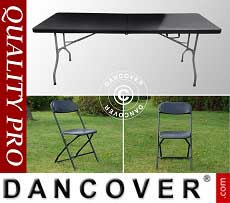Pacchetto party, 1 tavolo pieghevole (182cm) + 8 sedie, Nero