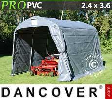 Tenda magazzino PRO 2,4x3,6x2,34m PVC, Grigio