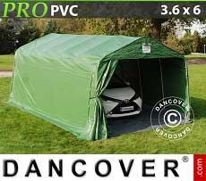 Tenda garage PRO 3,6x6x2,68m PVC con pavimento, Verde / Grigio