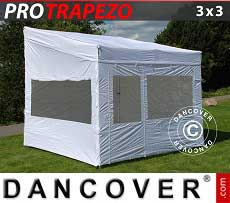 Gazebo pieghevole FleXtents PRO Trapezo 3x3m, inclusi 4 fianchi