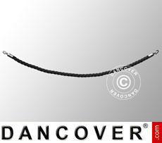 Corda intrecciata per colonnine a corda, 150cm, Nero e gancio Argento