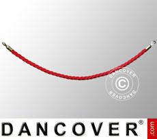 Corda intrecciata per colonnine a corda, 150cm, Rosso e gancio dorato