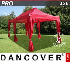 Gazebo pieghevole FleXtents PRO 3x6m Rosso, incl. 6 tendaggi decorativi