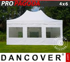 FleXtents Gazebi per Feste PRO Peak Pagoda 4x6m Bianco, incluso 8 pareti...