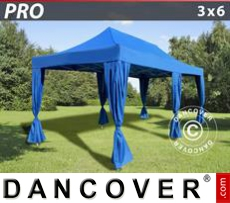 FleXtents Gazebi per Feste PRO 3x6m Blu, incl. 6 tendaggi decorativi