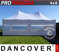 FleXtents Gazebi per Feste PRO Peak Pagoda 4x8m Bianco, incluso 6 pareti...