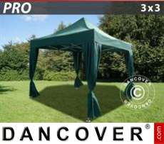FleXtents Gazebi per Feste PRO 3x3m Verde, incl. 4 tendaggi decorativi