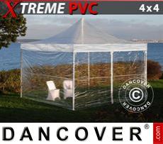 FleXtents Gazebi per Feste Xtreme 4x4m Trasparente, inclusi 4 fianchi
