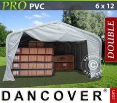 Capannone tenda PRO 6x12x3,7m PVC, Grigio
