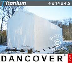 Capannone tenda Titanium 4x14x3,5x4,5m, Bianco
