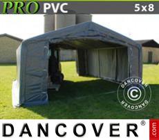 Capannone tenda PRO 5x8x2x2,9m, PVC, Grigio
