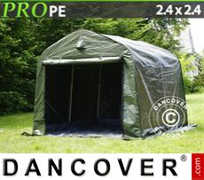 Capannone tenda PRO 2,4x2,4x2m PE, con pavimento, Verde/Grigio