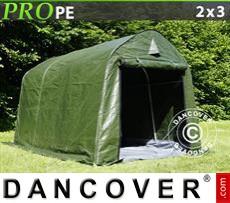 Capannone tenda PRO 2x3x2m PE, con pavimento, Verde/Grigio