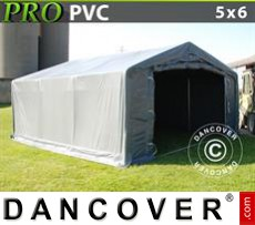 Capannone tenda PRO 5x6x2x2,9m, PVC, Grigio
