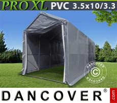 Capannone tenda PRO 3,5x10x3,3x3,94m, PVC, Grigio