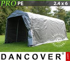 Capannone tenda PRO 2,4x6x2,34m PE, Grigio
