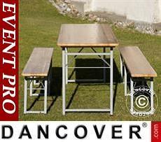 Set Tavolo e Panche, 220x60x76cm, Legno chiaro