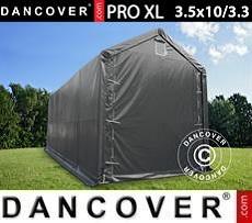 Capannone tenda PRO XL 3,5x10x3,3x3,94m, PVC, Grigio