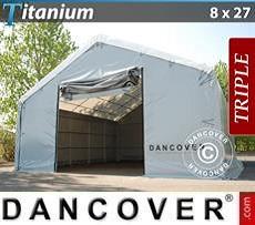 Capannone tenda di deposito Titanium 8x27x3x5m, Bianco / Grigio