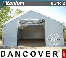 Capannone tenda di deposito Titanium 8x16,2x3x5m, Bianco / Grigio