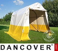Tenda da lavoro/magazzino PRO 2x2x2m, PVC, Bianco/Giallo, Ritardante di fiamma