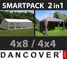 Tendoni Gazebi Party SmartPack Soluzione 2-in-1: Original 4x8m, Bianco/Gazebo 4x4m,…