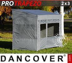 Gazebo pieghevole FleXtents PRO Trapezo 2x3m Grigio, inclusi 4 fianchi
