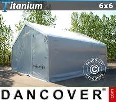 Capannone tenda di deposito Titanium 6x6x3,5x5,5m, Bianco / Grigio